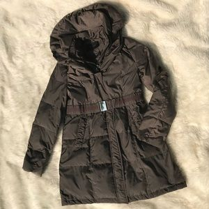 Tahari Brown Down Long Puffer Jacket Size Medium